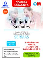 COMPRA CONJUNTA TRABAJADOR SOCIAL DEL SERVICIO DE SALUD DE LA COMUNIDAD DE MADRID. (Temario General, Temario específico volumen 1, 2  y Test  Ahorra 45 €