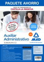 Paquete Ahorro Auxiliar Administrativo de la Junta de Comunidades de Castilla-La Mancha. Ahorra 65 € (incluye Temario 1; Temario 2; Test; Simulacros de examen y acceso Campus Oro)