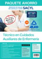 Paquete Ahorro Técnico/a en Cuidados Auxiliares de Enfermería del Servicio de Salud de Castilla y León (SACYL). Ahorra 85 € (Temario volúmenes 1, 2 y 3; Test; Simulacros de examen; acceso a Campus Oro)