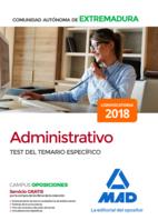 Administrativo de la Comunidad Autónoma de Extremadura. Test del Temario Específico