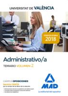 Administrativo de la Universitat de València. Temario volumen 2