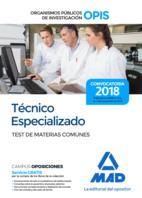 Técnico Especializado de los Organismos Públicos de Investigación. Test de Materias Comunes