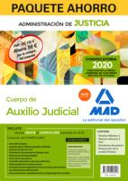 Paquete Ahorro Auxilio Judicial. Ahorra 58 € (incluye Temario volúmenes 1 y 2; Test; Preparación prueba práctica; Simulacros examen y acceso Curso Oro)