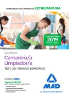 Camarero/a-Limpiador/a Personal Laboral (Grupo V) de la Administración de la Comunidad  Autónoma de Extremadura. Test del Temario específico