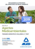 Escala de Agentes Medioambientales de Organismos Autónomos del Ministerio de Medio Ambiente. Temario específico volumen 2 y test