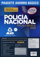 Paquete Ahorro BÁSICO Escala Básica Policía Nacional 2020. Ahorra 100 € (Temario 1, 2 y 3; Test; Simulacros 1, 2 y 3; y acceso gratis a Curso Oro)
