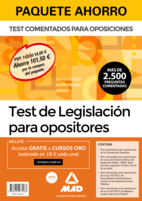 Paquete Ahorro Test de Legislación para opositores. Ahorra 69,10 € (incluye Test comentados para oposiciones de la Constitución Española; Test comentados para oposiciones de la Ley del Estatuto Básico del Empleado Público-EBEP; Test comentados para oposiciones de la Ley 39/2015 del Procedimiento Administrativo Común de las Administraciones Públicas; Test comentados para oposiciones de la Ley 40/2015 de Régimen Jurídico del Sector Público y acceso gratis a Cursos Oro)
