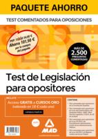 Paquete Ahorro Test de Legislación para opositores. Ahorra 101,50 € (incluye Test comentados para oposiciones de la Constitución Española; Test comentados para oposiciones de la Ley del Estatuto Básico del Empleado Público-EBEP; Test comentados para oposiciones de la Ley 39/2015 del Procedimiento Administrativo Común de las Administraciones Públicas; Test comentados para oposiciones de la Ley 40/2015 de Régimen Jurídico del Sector Público y acceso gratis a Cursos Oro)