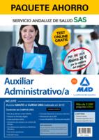 Paquete Ahorro y Test online GRATIS Auxiliar Administrativo del Servicio Andaluz de Salud. Ahorra 72 € (incluye Temario común; Temario específico volúmenes 1 y 2; 3200 test online gratis y acceso a Curso Oro)