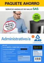 Paquete Ahorro y Test online GRATIS Administrativo del Servicio Andaluz de Salud. Ahorra 72 € (incluye Temario común; Temario específico volúmenes 1, 2 y 3; 2700 test online gratis y acceso a Curso Oro)