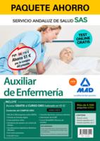 Paquete Ahorro y Test online GRATIS Auxiliar de Enfermería del Servicio Andaluz de Salud. Ahorra 87 € (incluye Temario común; Temario específico volúmenes 1 y 2; 4500 test online gratis y acceso a Curso Oro).