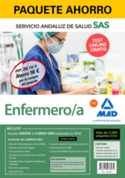 Paquete Ahorro y Test online GRATIS Enfermero/a del Servicio Andaluz de Salud. Ahorra 82 € (incluye Temario común; Temario específico volúmenes 1, 2 y 3; 5000 test online gratis y acceso a Curso Oro)