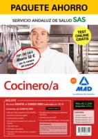 Paquete Ahorro y Test online GRATIS Cocinero/a del Servicio Andaluz de Salud. Ahorra 58 € (incluye Temario común; Temario específico volúmenes 1, 2 y 3; 2200 test online gratis y acceso a Curso Oro)