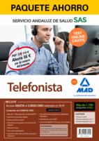 Paquete Ahorro y Test online GRATIS Telefonista del Servicio Andaluz de Salud. Ahorra 57 € (incluye Temario común; Temario específico volúmenes 1 y 2; 1700 test online gratis y acceso a Curso Oro)