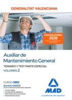 Auxiliar de Mantenimiento General de la Administración de la Generalitat Valenciana. Parte Especial Temario y test Volumen 2